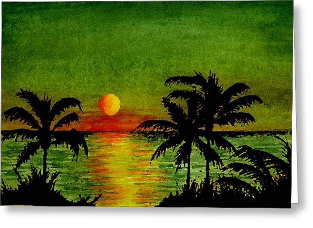 Tropical Island Mixed Media Greeting Cards - Palm Trees Setting Sun Greeting Card by Michael Vigliotti