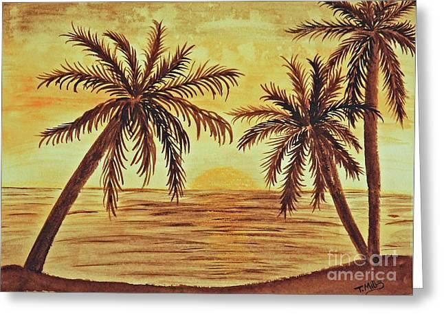 Terri Waters Paintings Greeting Cards - Palm Trees Greeting Card by Terri Mills