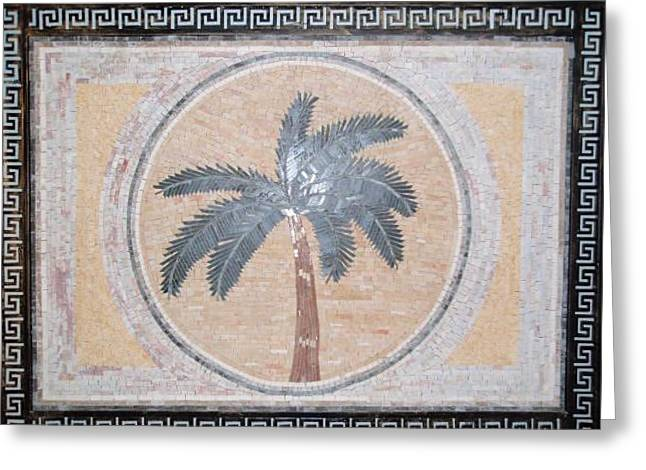 Mosaic Reliefs Greeting Cards - Palma In Stone Mosaic Greeting Card by Petrit Metohu