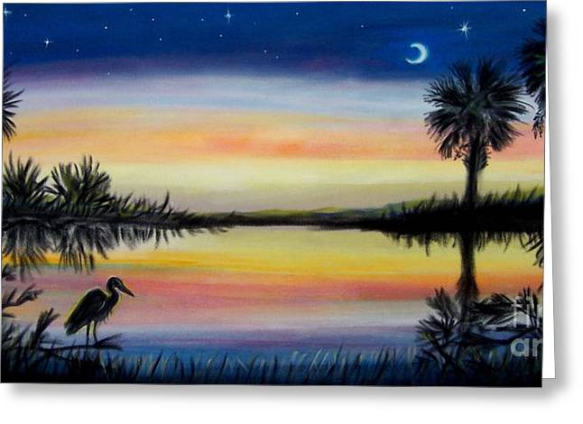Carolina Pastels Greeting Cards - Palmetto Tree and Moon Low Country Sunset Greeting Card by Patricia L Davidson