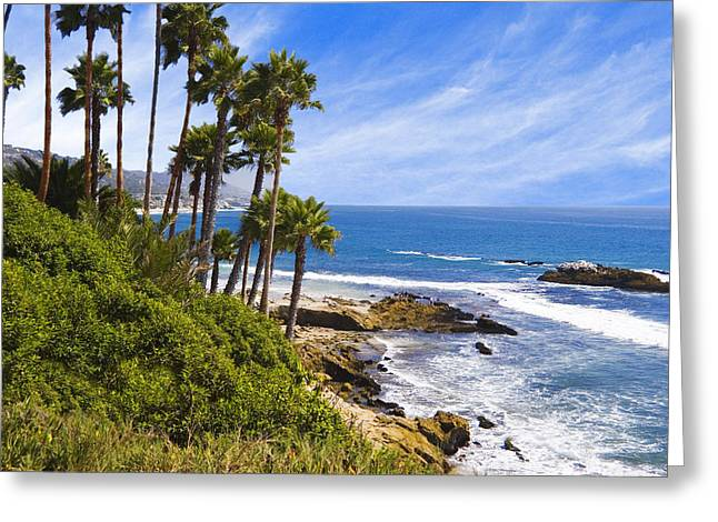 Spectacular Ocean Vistas Greeting Cards - Palms and Seashore Laguna Beach California Coast Greeting Card by Utah Images