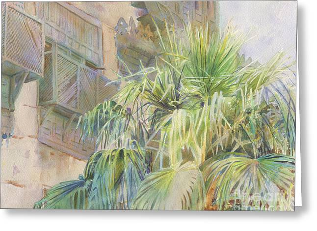 Weathered Shutters Greeting Cards - Palms and Shutters Greeting Card by Dorothy Boyer