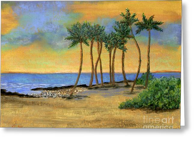 Tropical Oceans Pastels Greeting Cards - Palms in Pastel Greeting Card by Ginny Neece