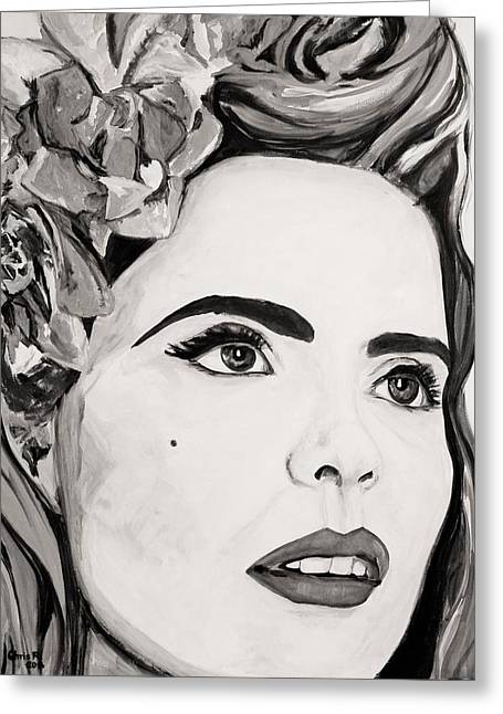 British Celebrities Mixed Media Greeting Cards - Paloma B and W Greeting Card by Christel  Roelandt
