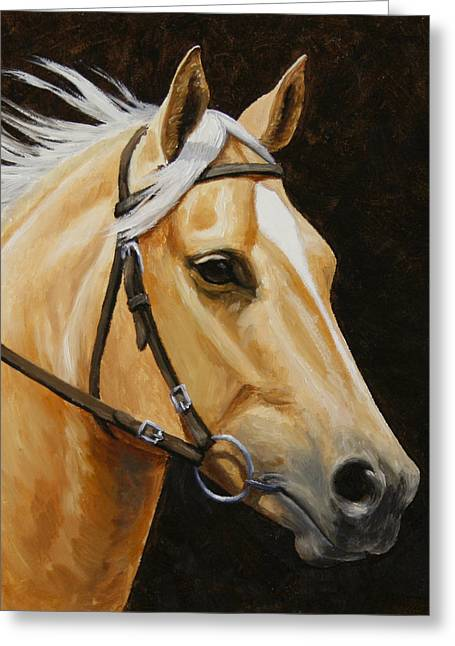 Palomino Horse Portrait Greeting Card by Crista Forest