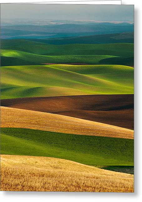 Palouse Layers Greeting Card by Thorsten Scheuermann