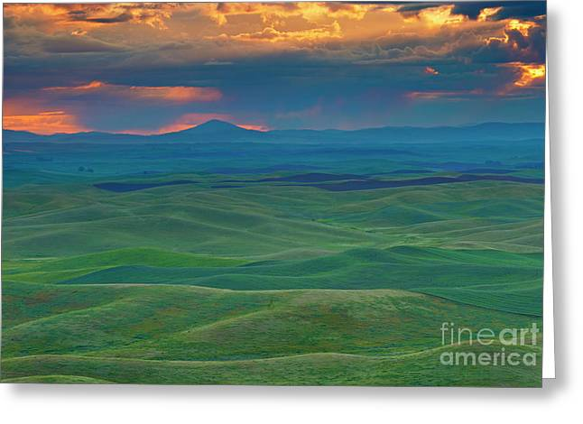 Palouse Stormrise Greeting Card by Mike Dawson