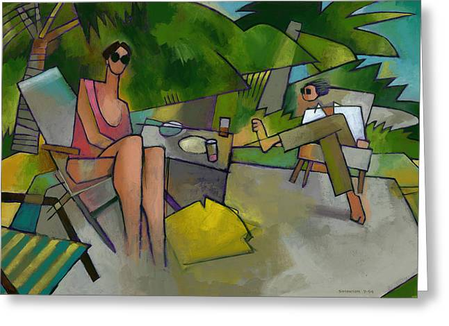 Randy Paintings Greeting Cards - Pam and Randy at Lanikai Greeting Card by Douglas Simonson