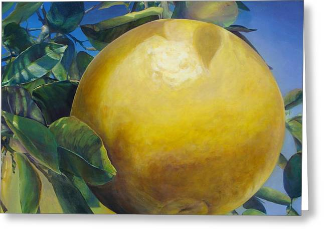 Grapefruit Paintings Greeting Cards - Pamplemousse Greeting Card by Muriel Dolemieux