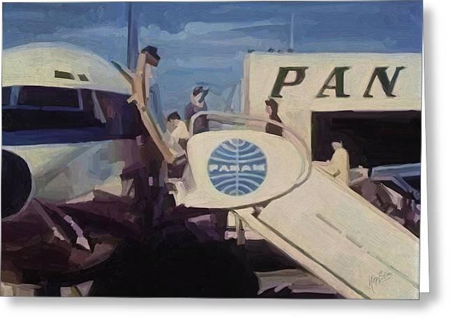 American Airways Greeting Cards - Pan American Airways Boeing 707 Greeting Card by Nop Briex