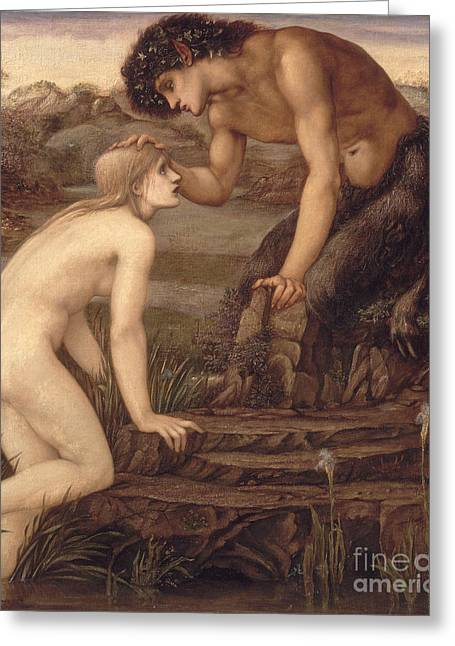 Touch Greeting Cards - Pan and Psyche Greeting Card by Sir Edward Burne-Jones