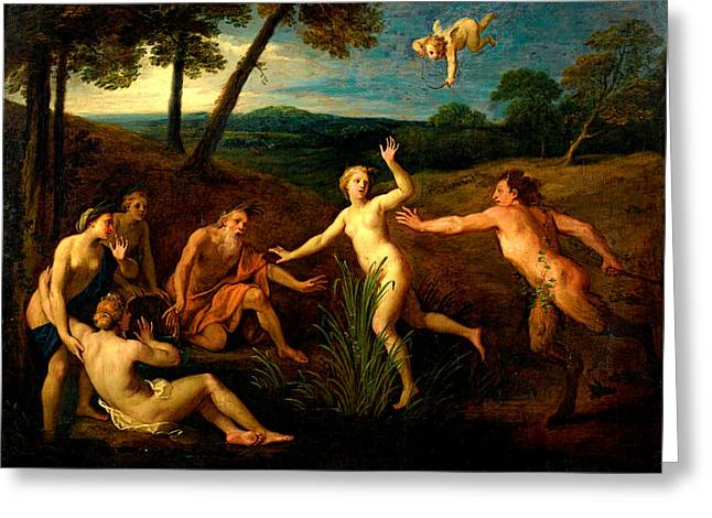Pan Pipes Greeting Cards - Pan and Syrinx Greeting Card by Bon Boullogne the Elder