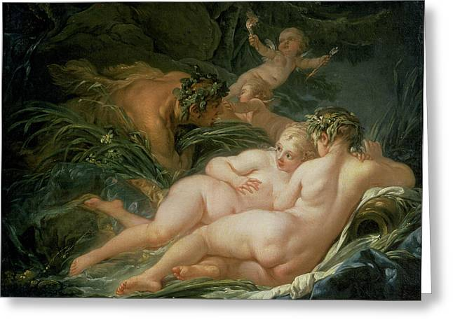 Lust Greeting Cards - Pan and Syrinx Greeting Card by Francois Boucher