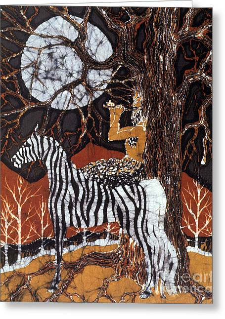 Greek Tapestries - Textiles Greeting Cards - Pan Calls the Moon from Zebra Greeting Card by Carol Law Conklin