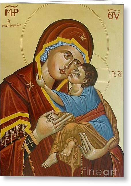 Byzantine Icon Greeting Cards - Panagia Glikofilousa Greeting Card by George Siaba