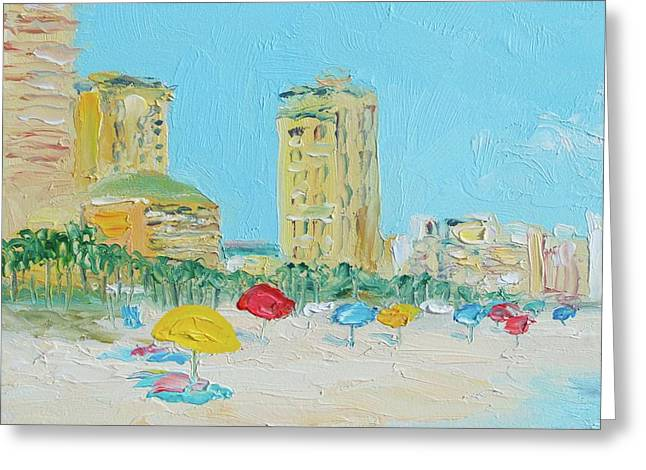 Panama City Beach Painting Greeting Card by Jan Matson