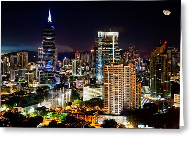 Panama City Greeting Cards - Panama City Night Lights Greeting Card by Temistocies Arjona
