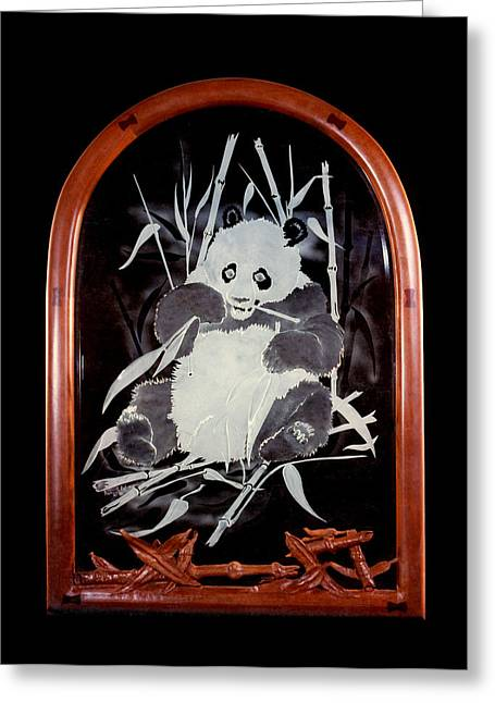 Oriental Sculptures Greeting Cards - Panda and Bamboo Greeting Card by Dan Redmon
