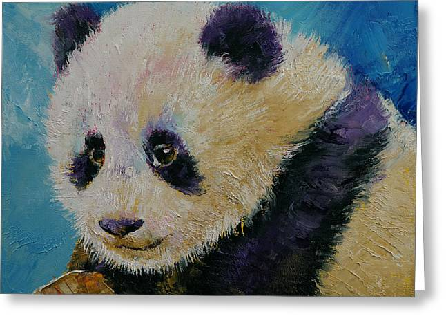 Panda Cub Greeting Card by Michael Creese