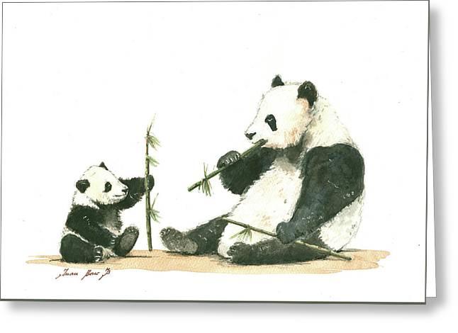 Panda Family Eating Bamboo Greeting Card by Juan Bosco