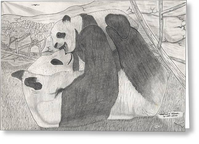 Panda Family Greeting Card by Matthew Moore