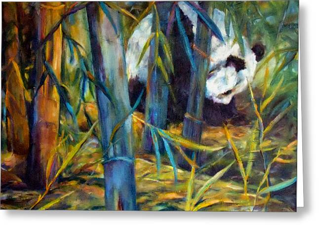 Blue Panda Greeting Cards - Panda in Bamboo Greeting Card by Peggy Wilson
