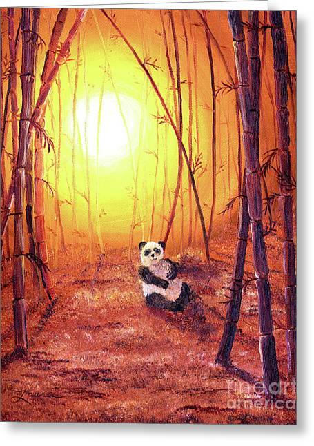Zen Greeting Cards - Panda in Golden Glow Greeting Card by Laura Iverson