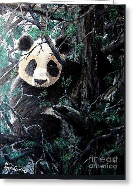 In Tree Greeting Cards - Panda in tree Greeting Card by Nick Gustafson