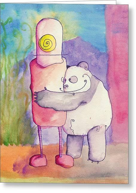 Jonathan Arras Greeting Cards - Panda Loves Robot - Robot Feels Nothing Greeting Card by Jonathan Arras