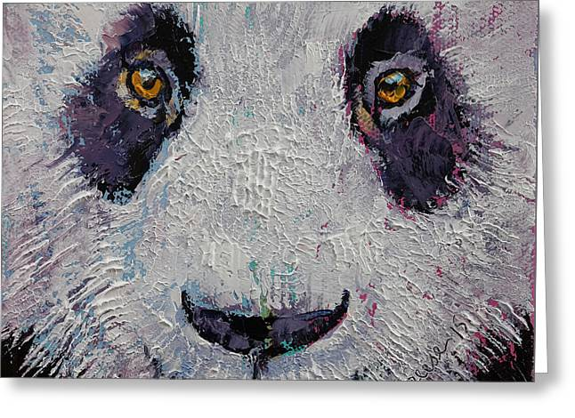 Giant Art Greeting Cards - Panda Greeting Card by Michael Creese