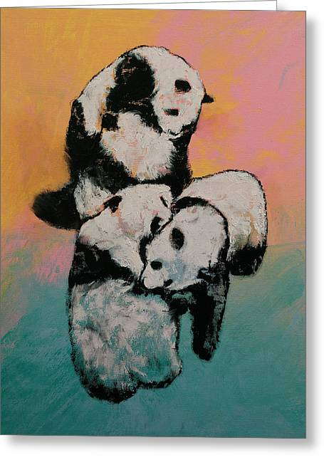 Panda Street Fight Greeting Card by Michael Creese