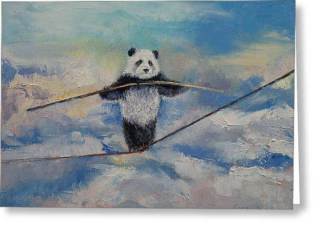 Panda Tightrope Greeting Card by Michael Creese