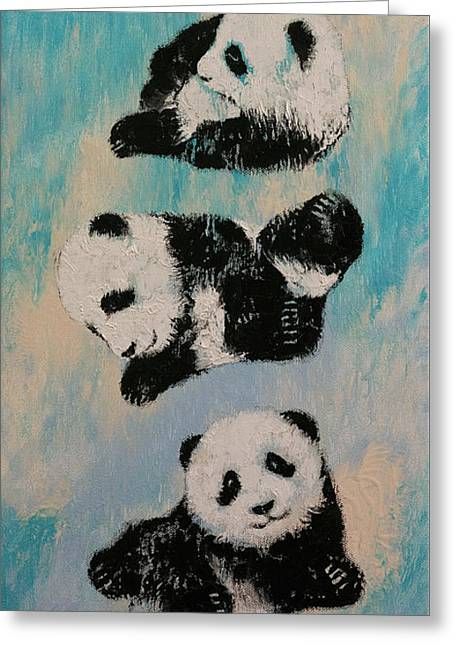 Martial Arts Greeting Cards - Panda Karate Greeting Card by Michael Creese