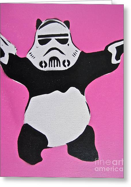 Aerosol Paintings Greeting Cards - Panda Trooper Greeting Card by Tom Evans