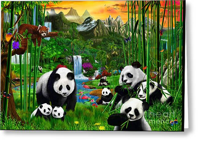 Panda's Paradise Greeting Card by Gerald Newton