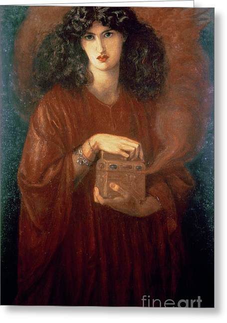 Chest Greeting Cards - Pandora Greeting Card by Dante Charles Gabriel Rossetti