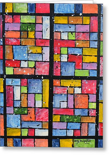 Abstract Geometric Greeting Cards - Panes Greeting Card by James Pinkerton