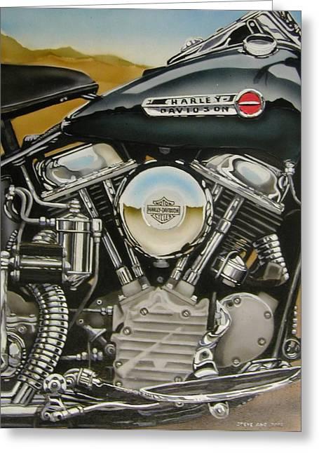 Panhead Harley Davidson Engine Painting By Steve Aho
