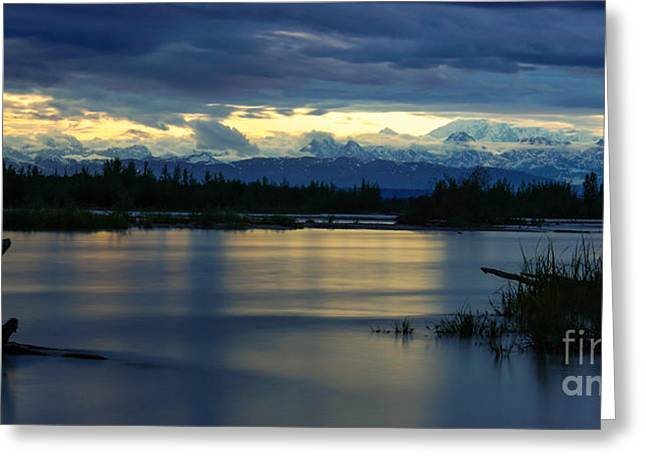 Sunset Framed Prints Greeting Cards - Pano Alaska Midnight Sunset Greeting Card by Jennifer White