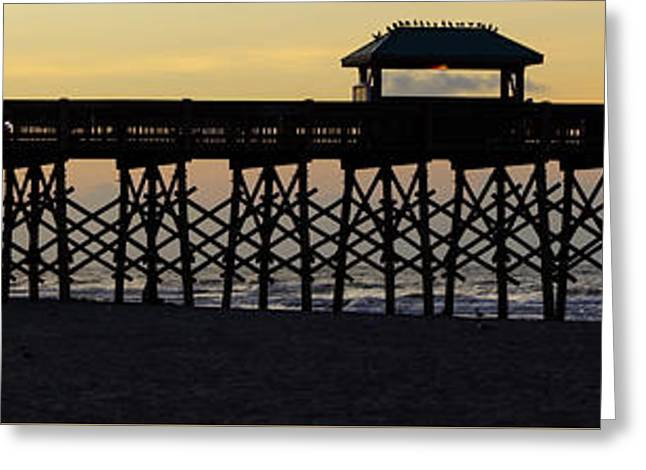 Ocean Panorama Greeting Cards - Pano Pier Silhouette Greeting Card by Jennifer White