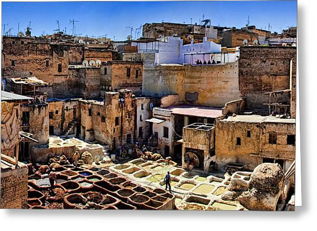 Vat Greeting Cards - Panorama of the Ancient Tannery in Fez Morocco Greeting Card by David Smith