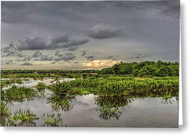 Panorama, Florida Wetlands At Sunset Greeting Card by Felix Lai