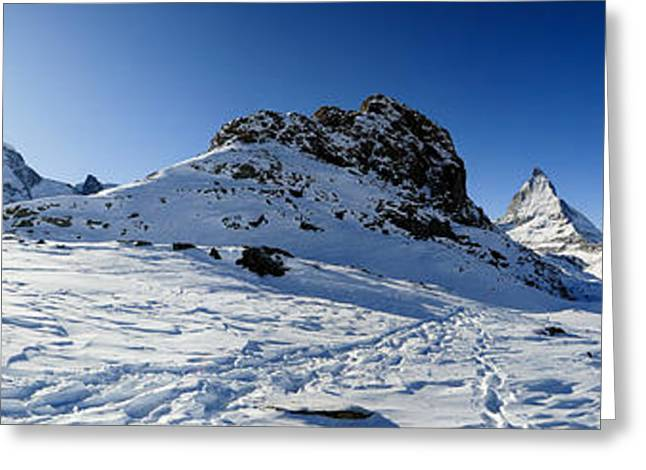 Swiss Photographs Greeting Cards - Panorama from Riffelsee in Winter Greeting Card by Peter Wey