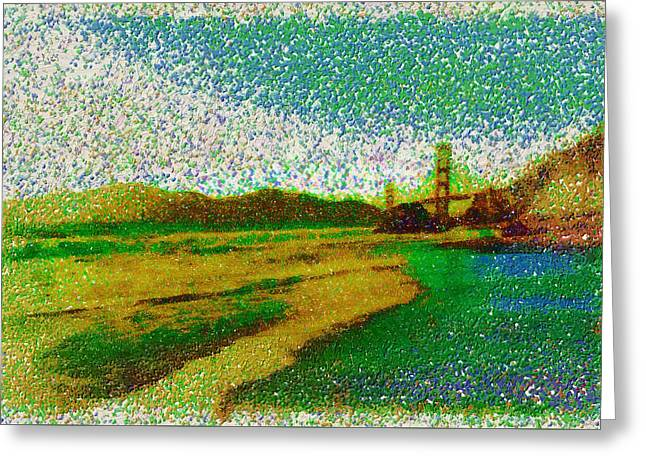 Print On Canvas Greeting Cards - Panorama Golden Gate Greeting Card by Mario Carini