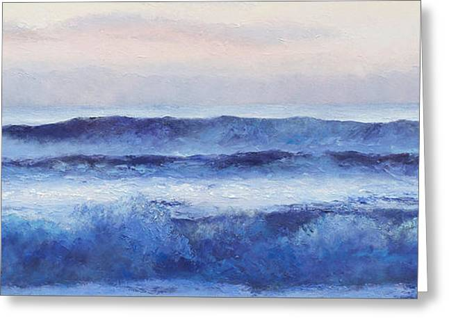 Beach Cottage Style Greeting Cards - Panorama ocean painting Greeting Card by Jan Matson