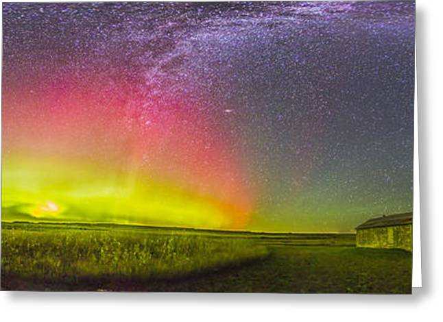 Shack Greeting Cards - Panorama Of An Aurora And The Milky Way Greeting Card by Alan Dyer