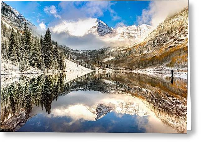 Reflecting Upon The Maroon Bells - Aspen Colorado Greeting Card by Gregory Ballos