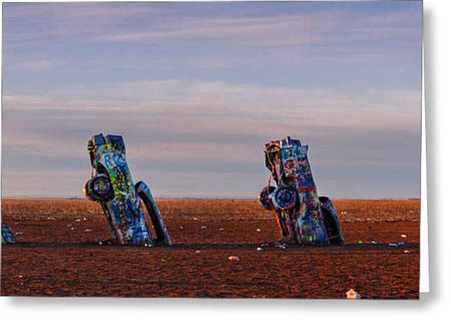 Art Installation Greeting Cards - Panorama of Cadillac Ranch in the Early Morning - Amarillo Texas Panhandle Greeting Card by Silvio Ligutti