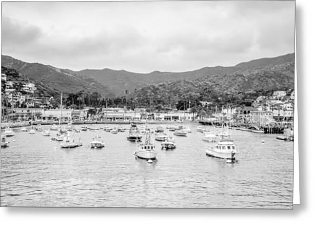 Panoramic Ocean Greeting Cards - Panorama of Catalina Island Avalon Bay Greeting Card by Paul Velgos