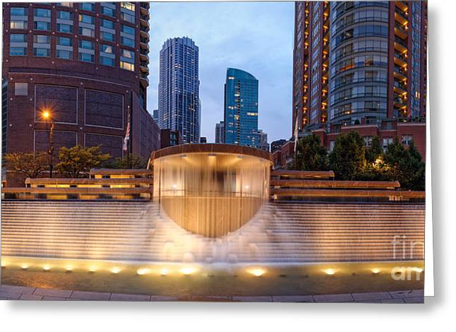 Nicholas Greeting Cards - Panorama of Centennial Fountains at Twilight Chicago River - Near North Side Chicago Illinois Greeting Card by Silvio Ligutti